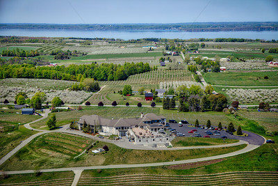 Aerial of Chateau Chantal on Old Mission Peninsula in Traverse City, Michigan