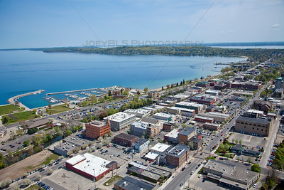 Aerial Downtown Traverse City, Michigan in Spring