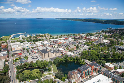 Aerial of Traverse City, Michigan in the Summer - 2013
