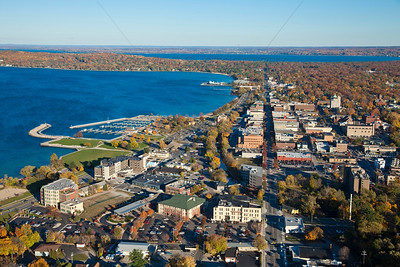 Aerial photo of Downtown Traverse City, Michigan in the Fall