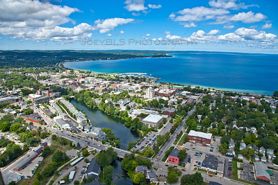 Aerial photo of downtown Traverse City, Michigan