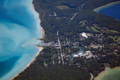 Aerial photo of Leland, Michigan in Leelanau County