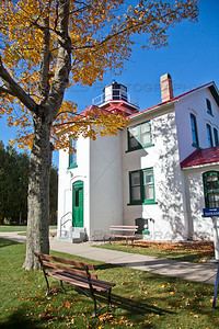 Historic Grand Traverse Lighthouse in Fall