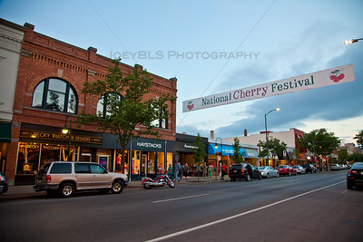 Front Street with National Cherry Festival Banner in Traverse City, Michigan