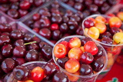 Cups of Cherries at the National Cherry Festival in Traverse City, Michigan