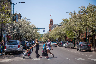 Spring on Front Street in Traverse City, Michigan