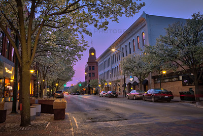 Blue Hour on Front Street in Traverse City, Michigan