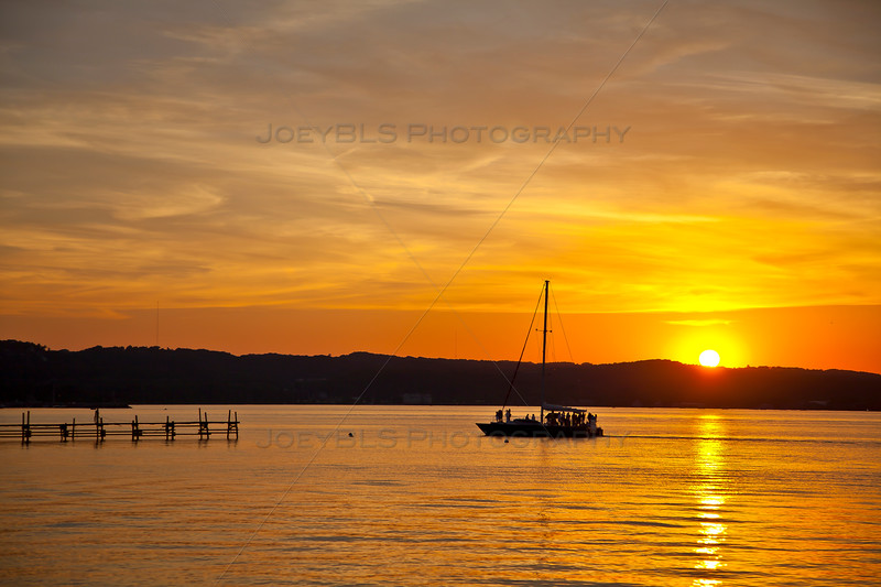 Sunset over the Grand Traverse Bay in Traverse City, Michigan