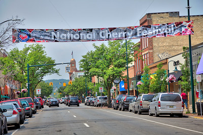 National Cherry Festival Banner on Front Street, Traverse City Michigan