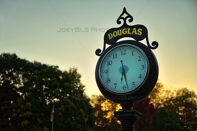 Douglas, Michigan Clock at Sunset