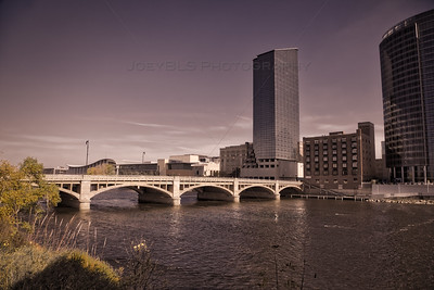 Moody River Scene in Downtown Grand Rapids, Michigan