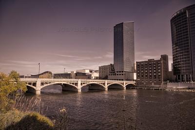 Moody River Scene in Downtown Grand Rapids, Michigan