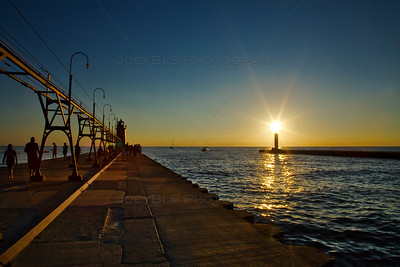 Sunset at the South Haven, Michigan Pier on Lake Michigan