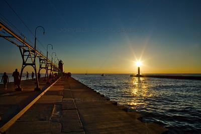 Sunset at the South Haven, Michigan Pier on Lake Michigan