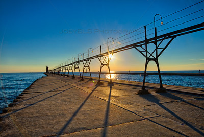 Sunset at the Pier in South Haven, Michigan