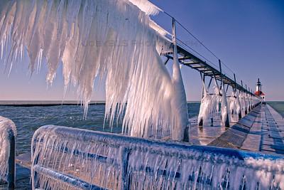 Frozen St Joseph, Michigan Lighthouse and Pier