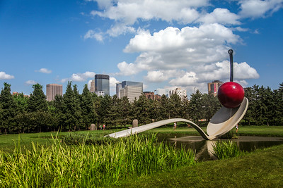 Minneapolis Skyline with Spoon and Cherry Sculpture