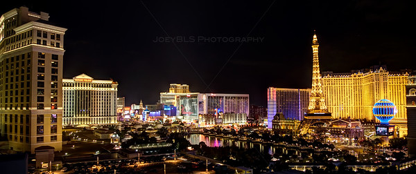 HDR photo of the Las Vegas skyling at night, taken from The Cosmopolitan Hotel and Casino.