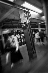 Times Square Subway in New York City - BW Vertical