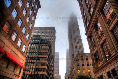 Buildings in midtown Manhattan with Rockefeller Center in the background.