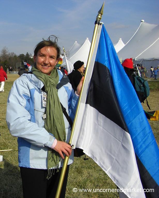 Woman with the Estonian Flag - Washington DC, USA