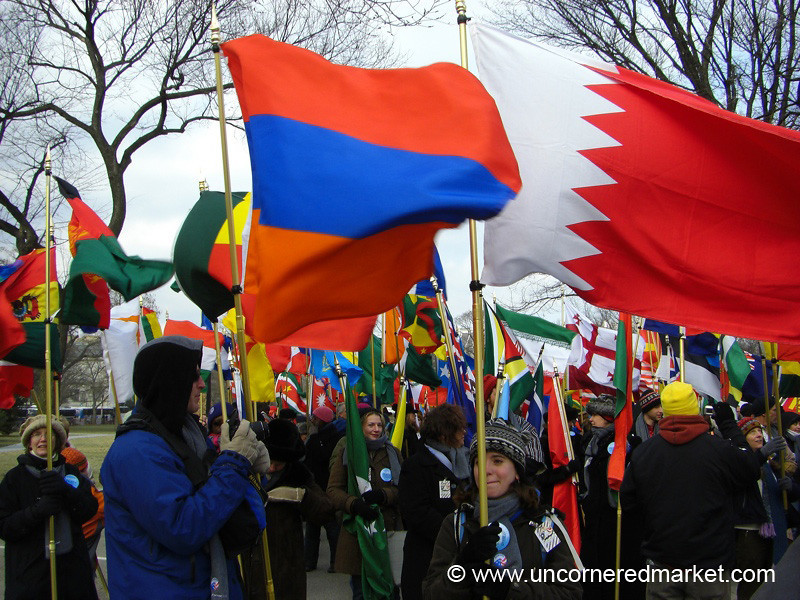 People Holding Flags - Washington DC, USA