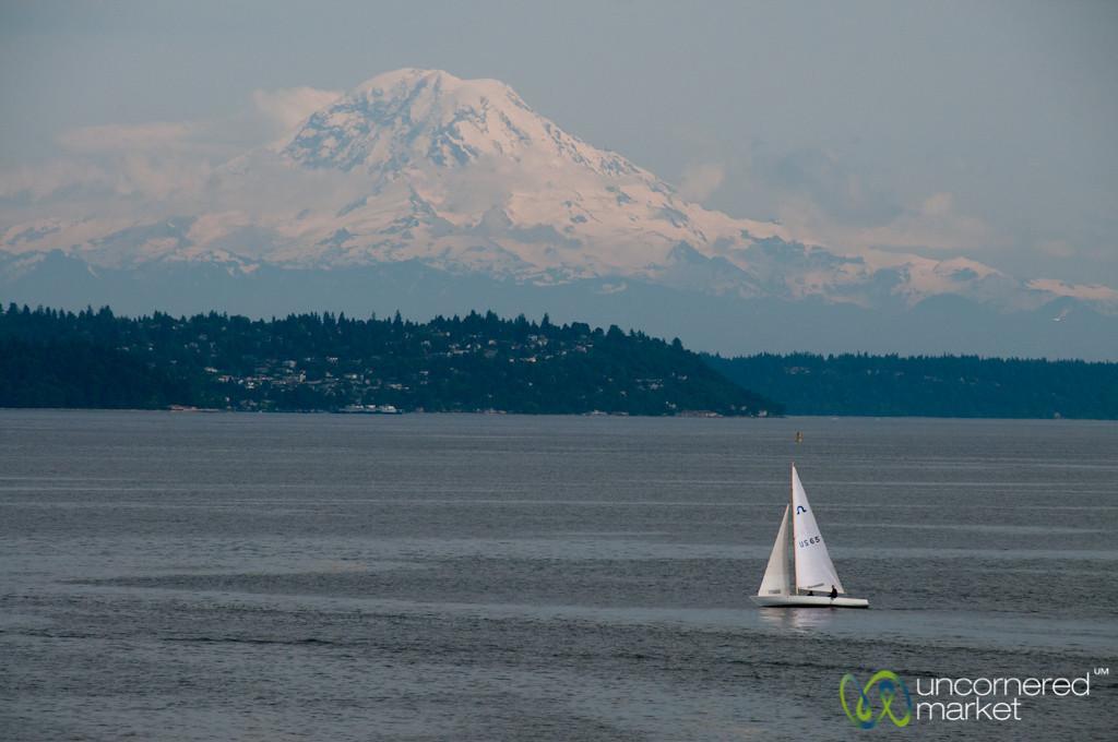 Sailboat under Mount Rainier - Seattle, Washington