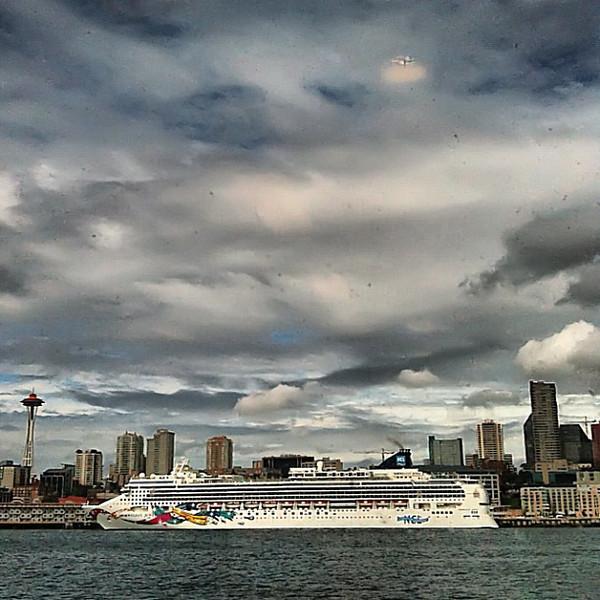 Seattle, space needle, cruise ship #skyporn