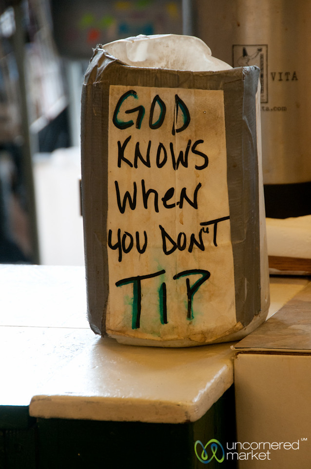 Tipping Humor - Pike Place Market, Seattle