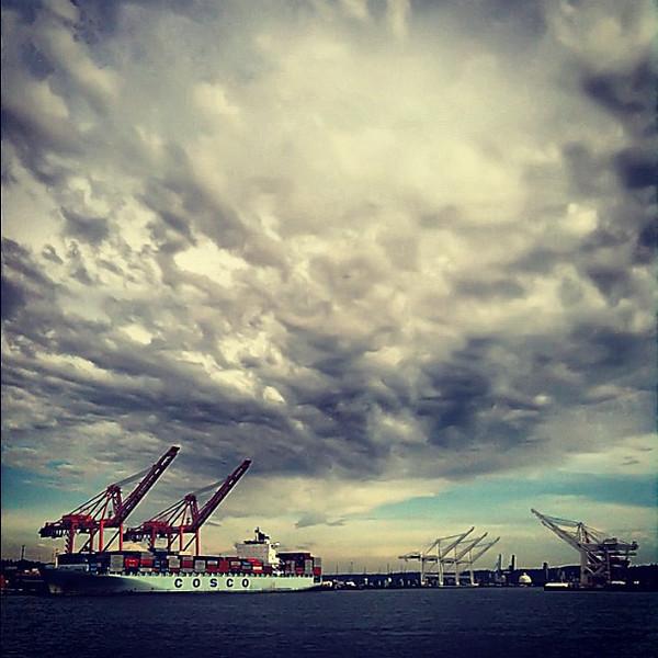 Midsummer eve sky, Port of Seattle