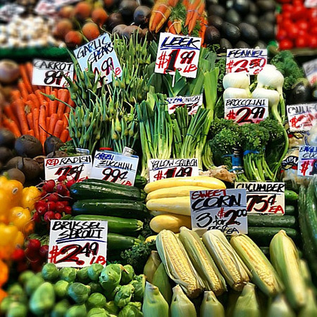 Veggies at Pike Place Market, Seattle #instaveg