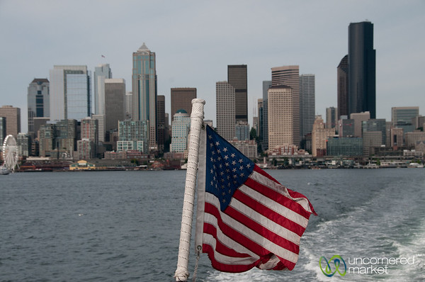 American Flag and Seattle Skyline - Washington