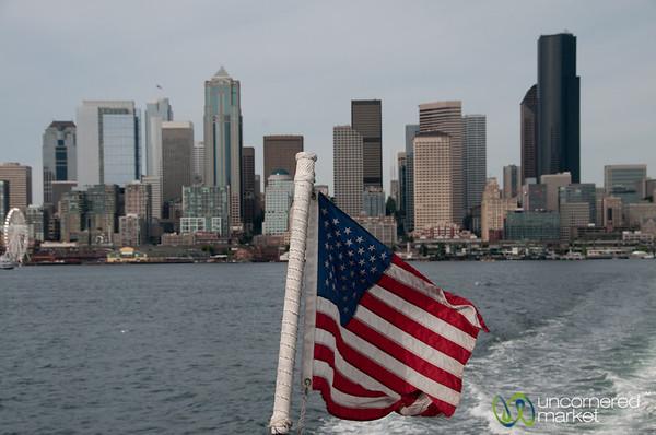 American Flag and Seattle Skyline - Washington