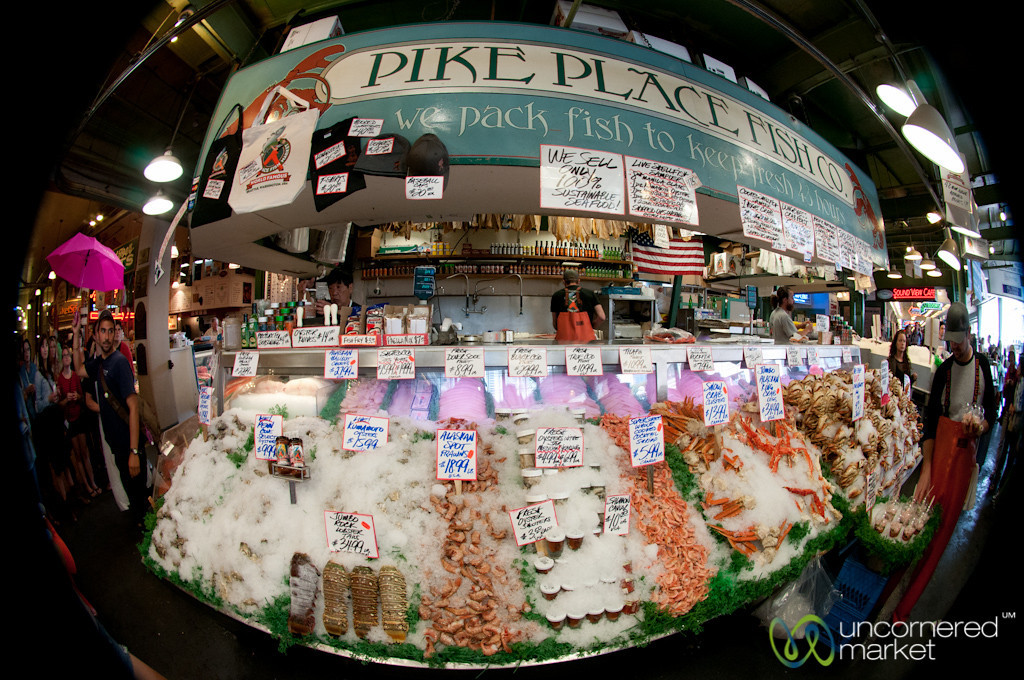 Pike Place Fish Co. in Fisheye - Seattle, Washington
