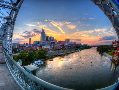 Downtown Nashville, Tennessee on the Pedestrian Bridge