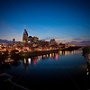 Downtown Nashville, Tennessee at the Cumberland River after Sunset