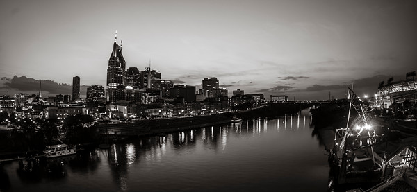 Nashville, Tennessee Skyline Panoramic in Black and White