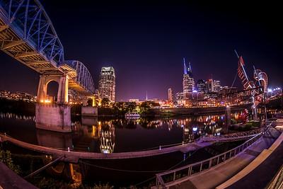 Nashville Skyline from Under the Pedestrian Bridge