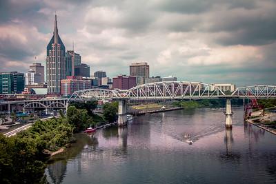 Nashville, Tennessee Skyline with Moody Hue Sky