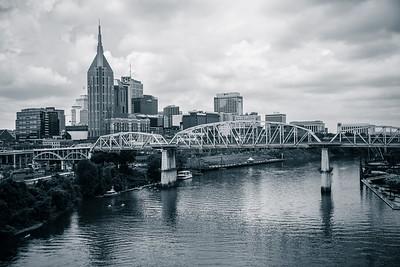 Nashville, Tennessee Skyline in Black and White