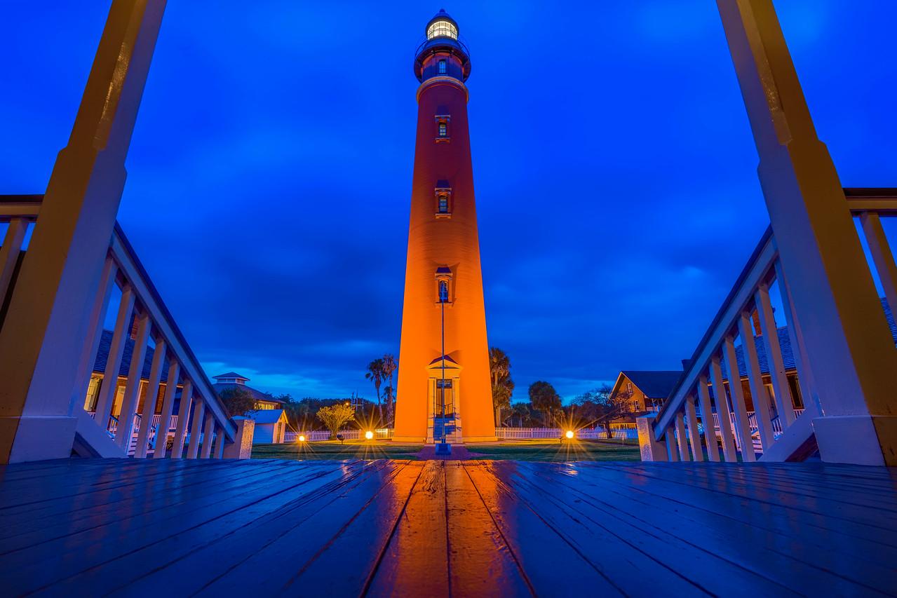 Sunset at the Ponce de Leon Lighthouse in Daytona Beach, USA