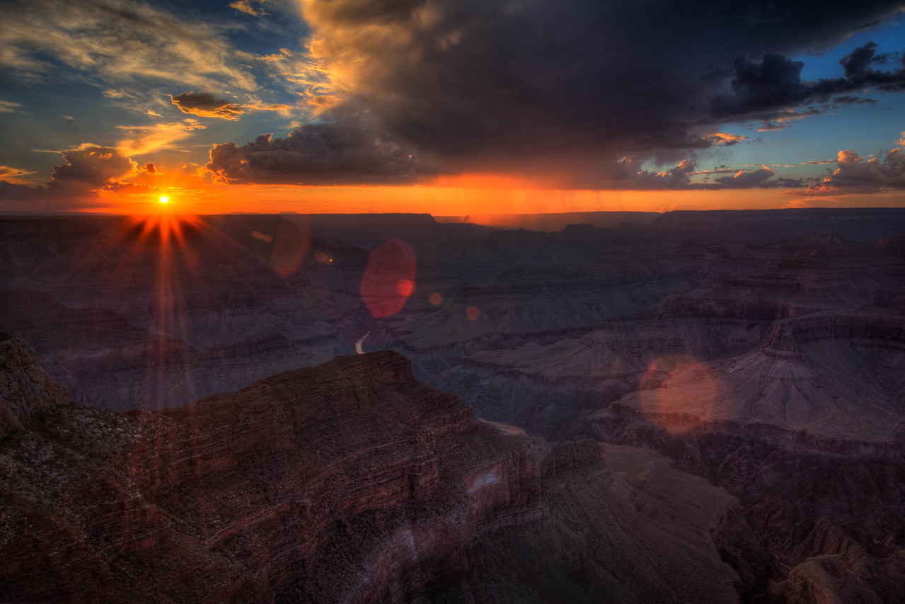A burst of sunshine over the canyon.