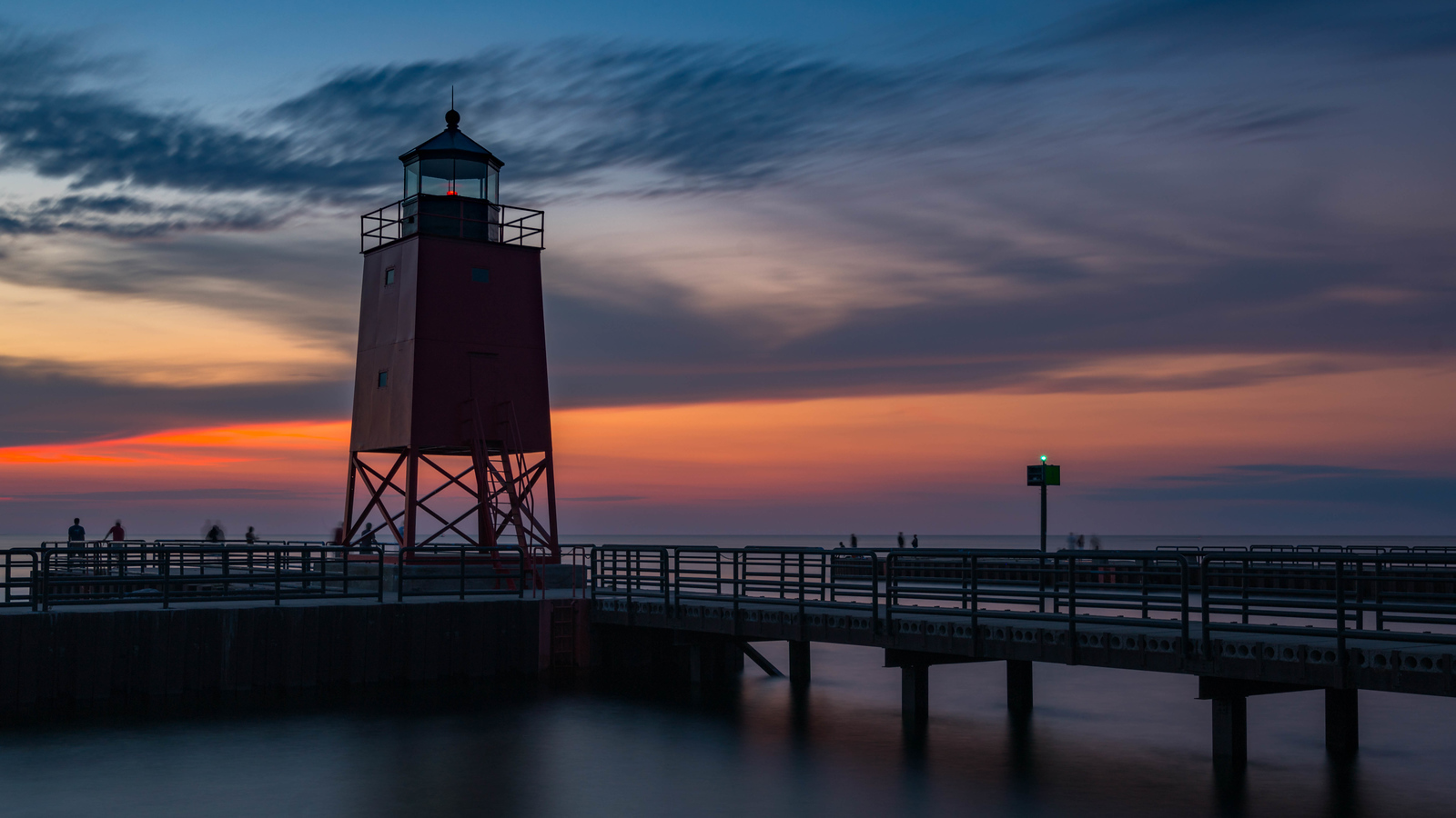 Sunset at the Charlevoix Lighthouse in Michigan