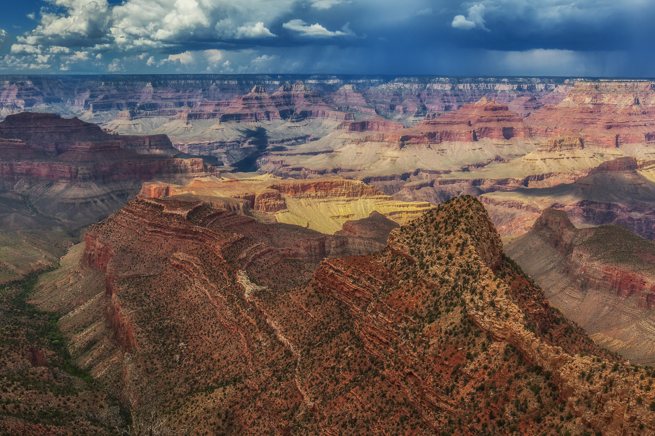 The rains threaten over the Grand Canyon