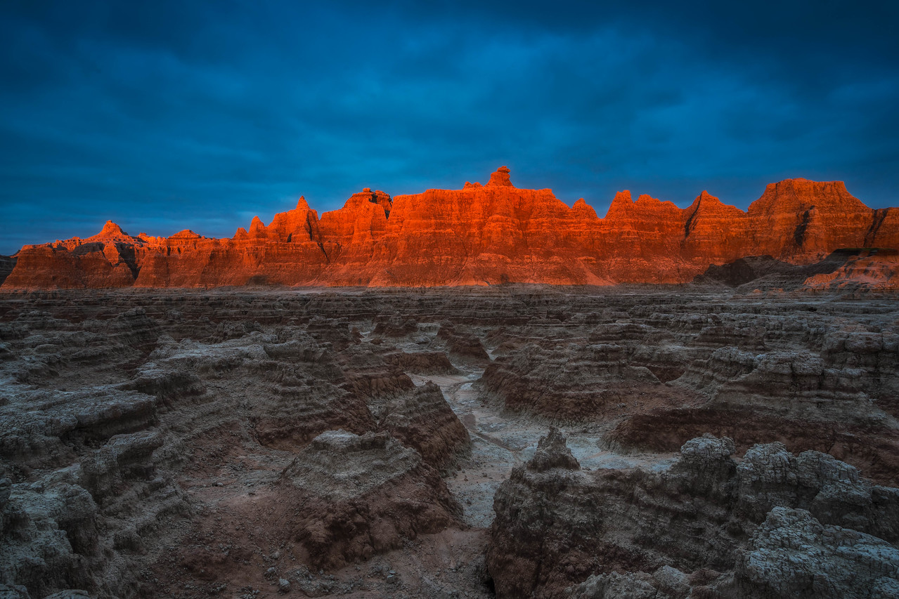 Sunrise at Badlands National Park in South Dakota.