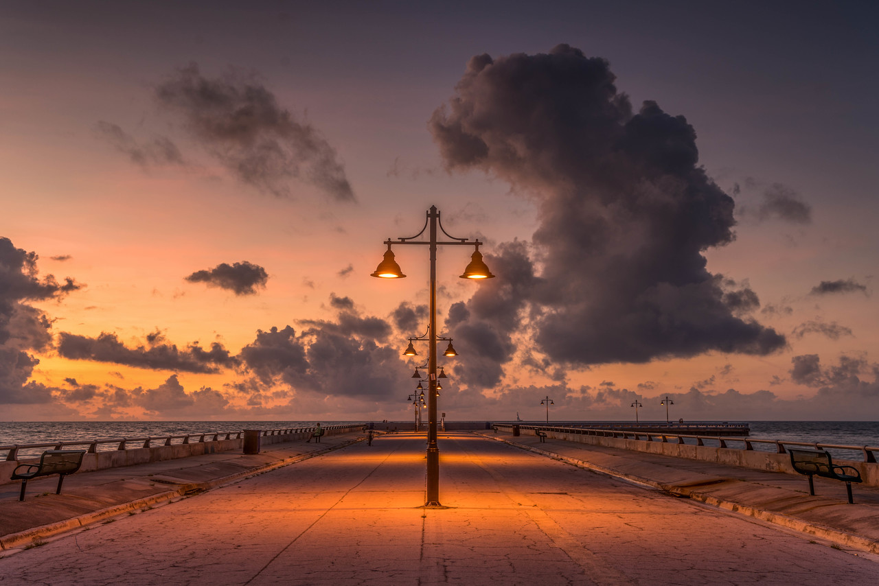 Sunrise at the pier in the Florida Keys, USA