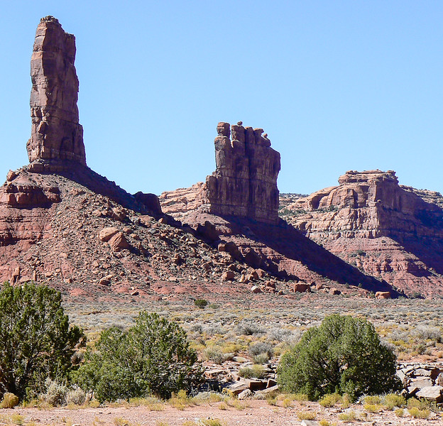 Sandstone buttes lined in a row