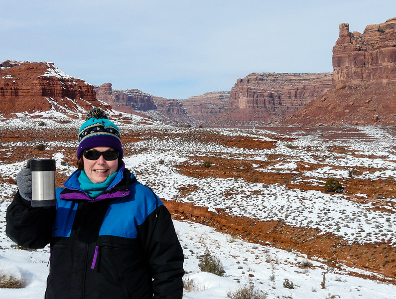 Snow accents the red cliffs at Valley of the Gods on a winter adventure in Utah.