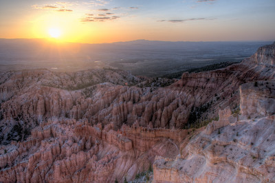 Sunset over Bryce Canyon National Park in Utah