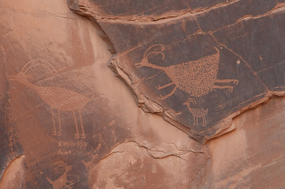 Close-up of stone writing in Monument Valley, Utah
